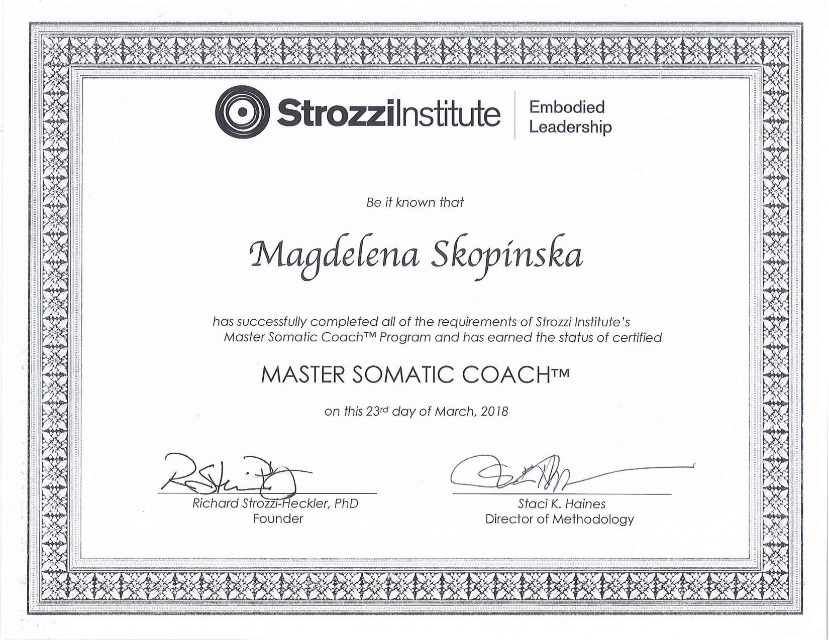Master Somatic Coach Magdalena Skopinska
